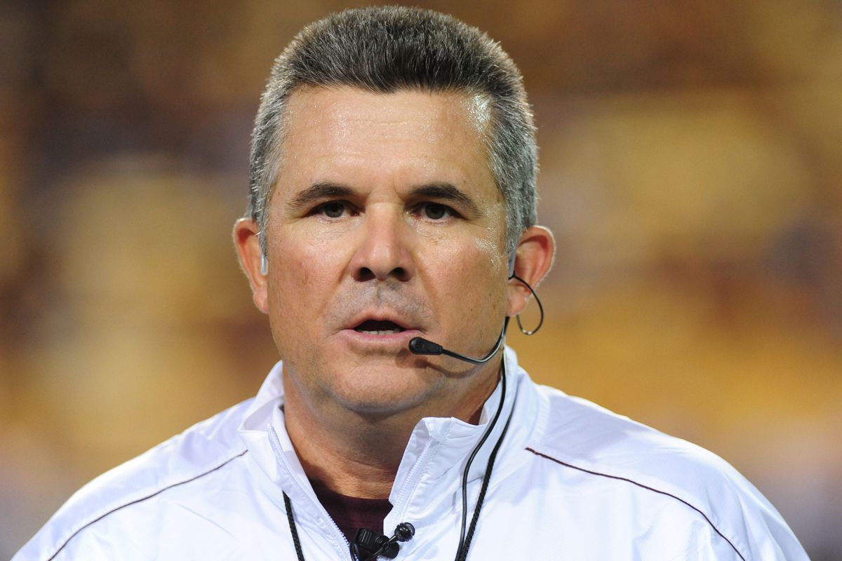 Todd Graham watches in shock as Mizzou rallies to win in the 4th.  Mandatory Credit: Jennifer Hilderbrand-US PRESSWIRE