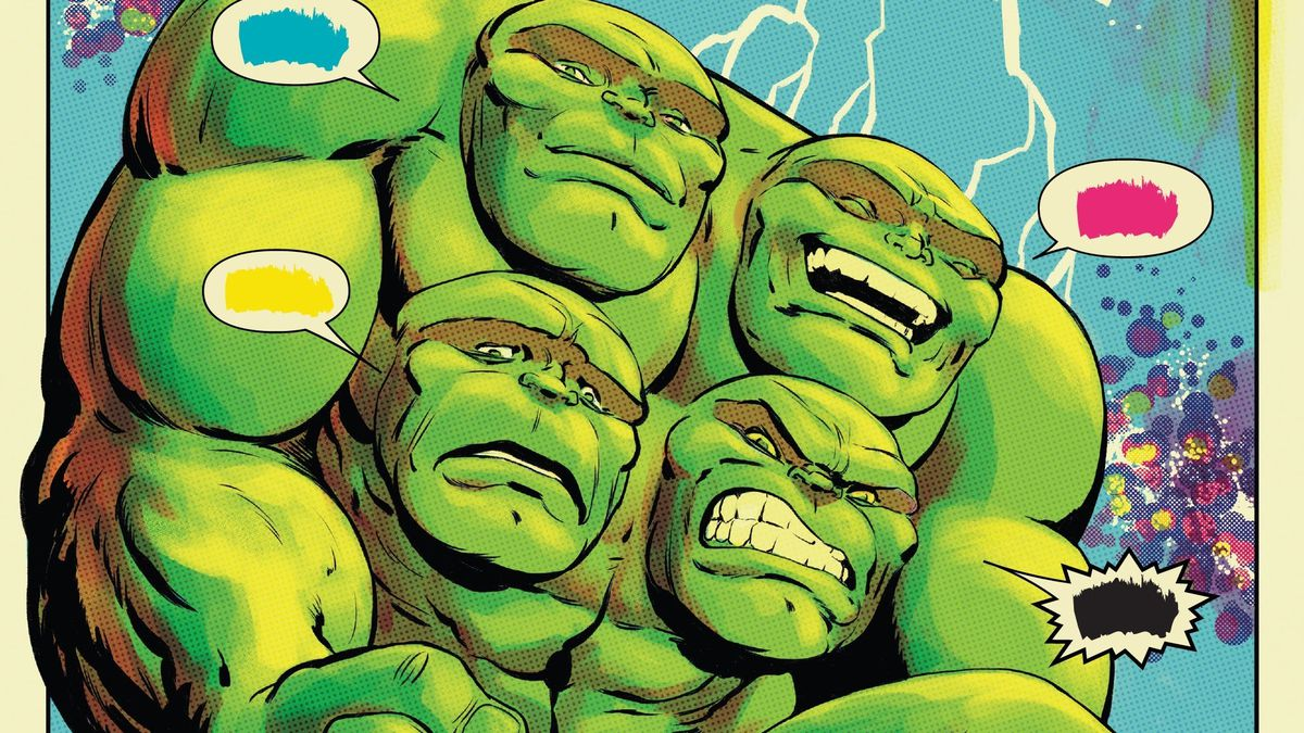 A character confronts some kind of four-headed Hulk, with each of its faces speaking a different word balloon, filled only with scribbles of cyan, magenta, yellow, and black in Defenders #3 (2021).
