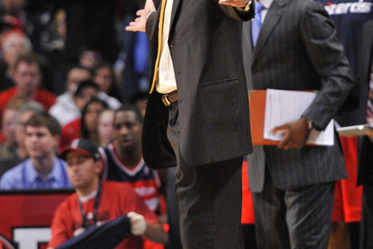 April 16, 2012; Chicago, IL, USA; Washington Wizards head coach Randy Wittman reacts to a call during the second half against the Chicago Bulls at the United Center. The Wizards beat the Bulls 87-84.  Mandatory Credit: Rob Grabowski-US PRESSWIRE