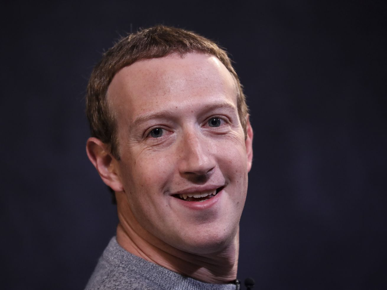 Mark Zuckerberg smiles.