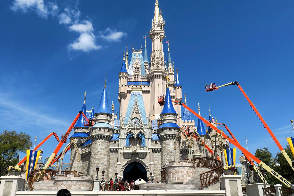 Cinderella Castle getting painted