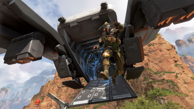 Bloodhound exits a dropship over Kings Canyon in a screenshot from Apex Legends