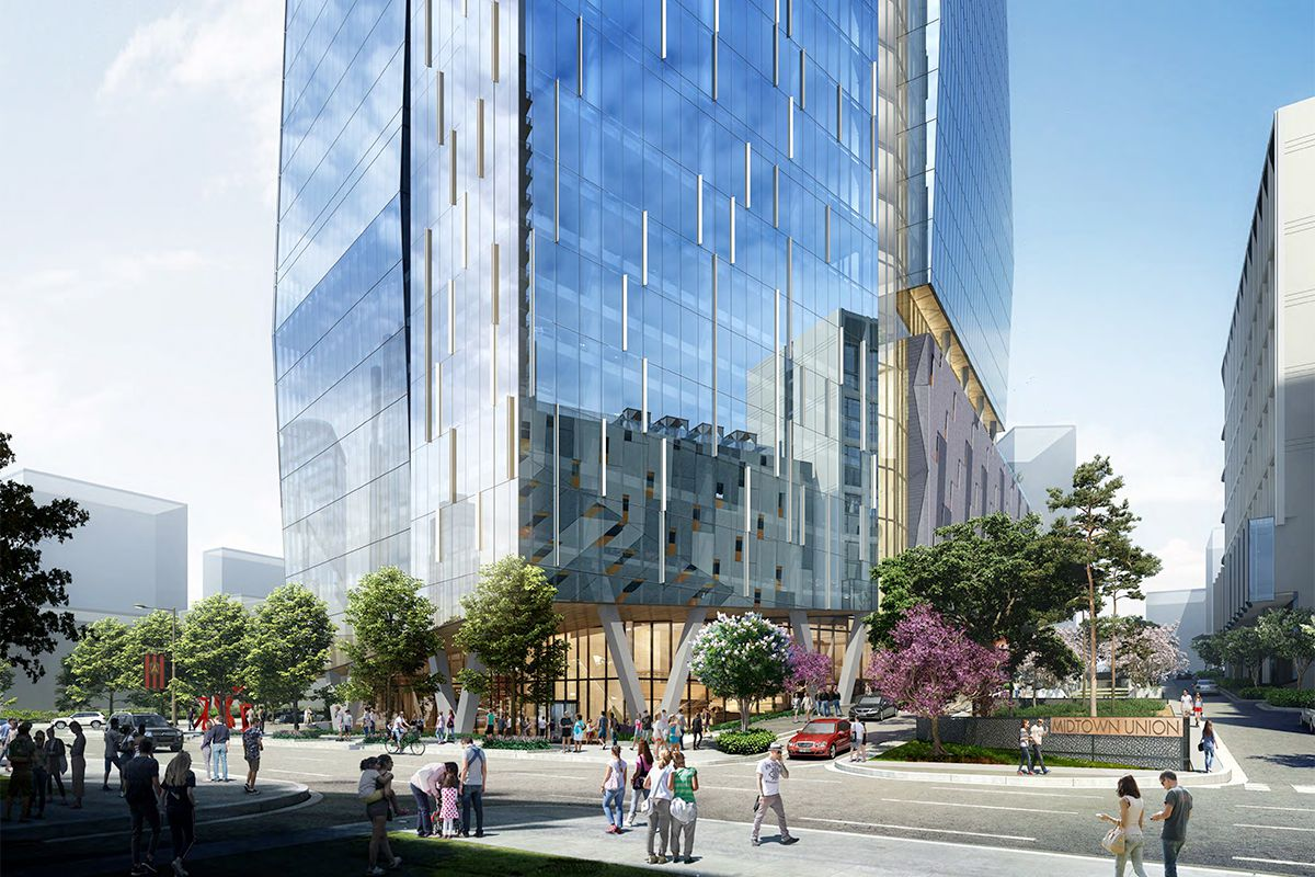 A rendering shows the ground floor of a glassy Midtown Union tower, surrounded by trees and pedestrians.