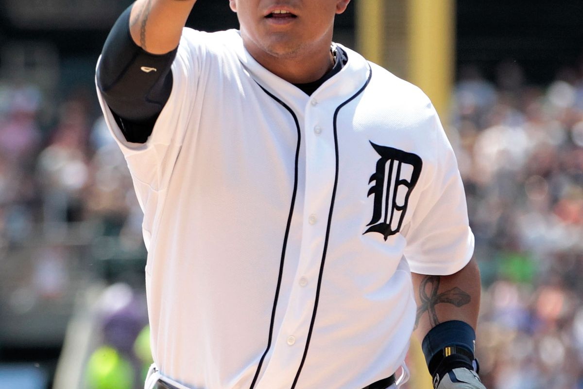 DETROIT, MI - JULY 22: Miguel Cabrera #24 of the Detroit Tigers celebrates a solo home run in the first inning during the game against the Chicago White Sox at Comerica Park on July 22, 2012 in Detroit, Michigan.  (Photo by Leon Halip/Getty Images)