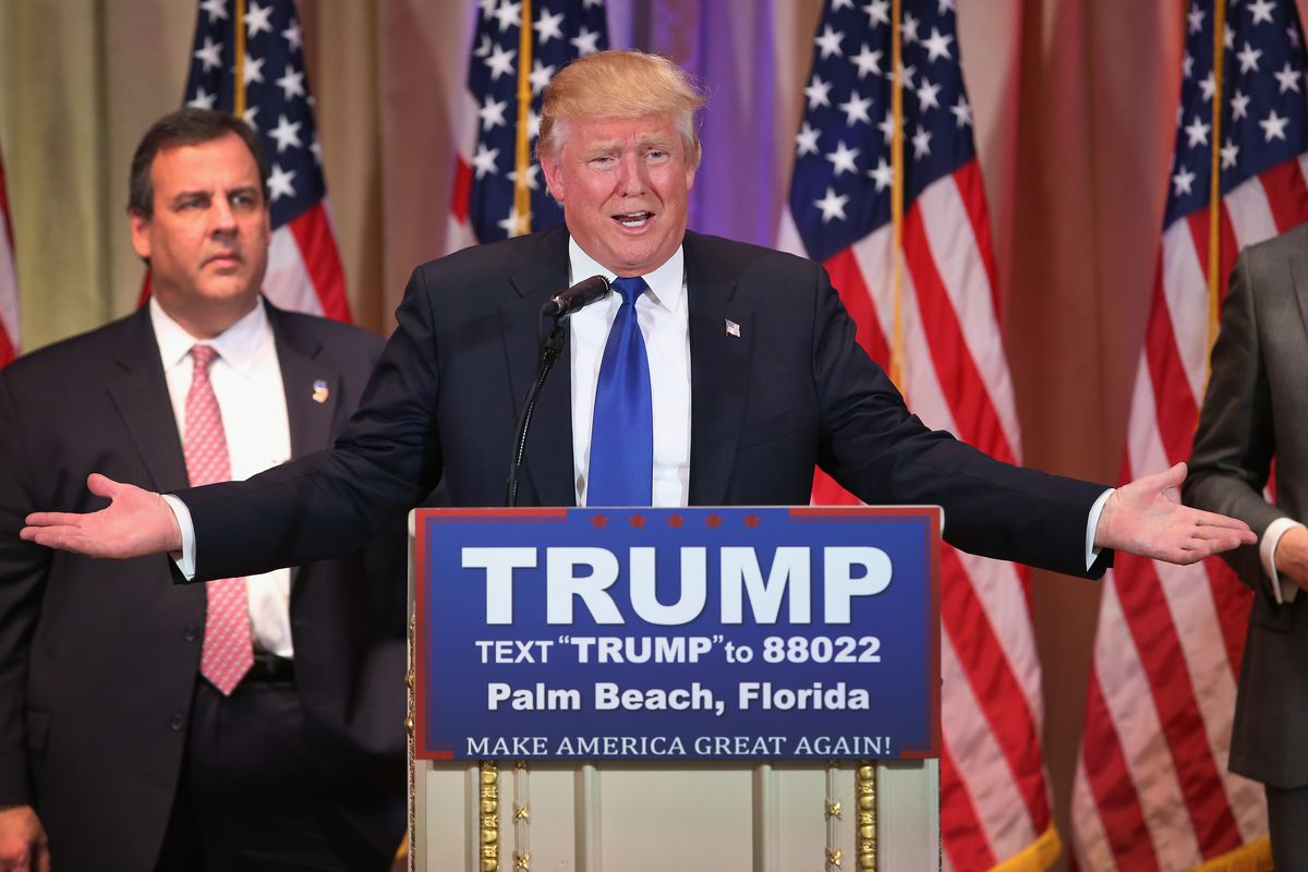 Trump with Chris Christie, who looks very regretful