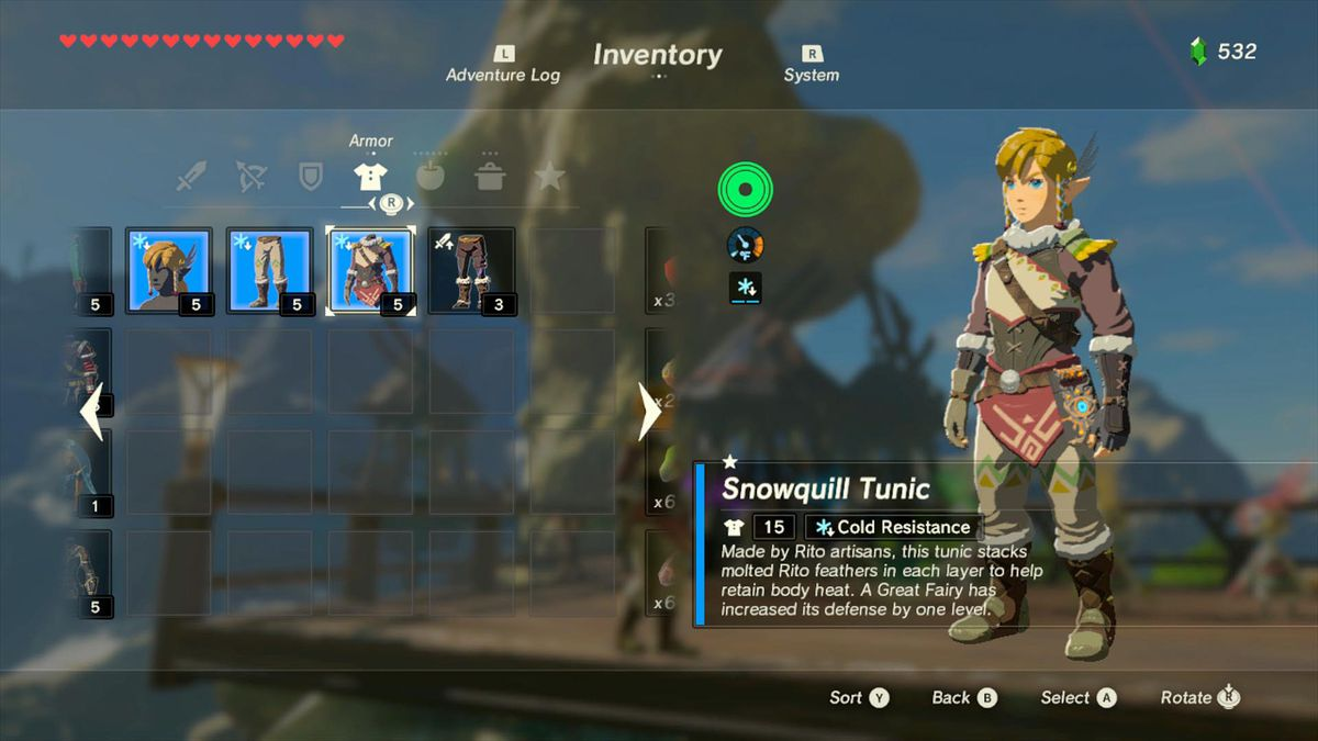 Zelda Breath of the Wild warm clothes guide: warm doublet