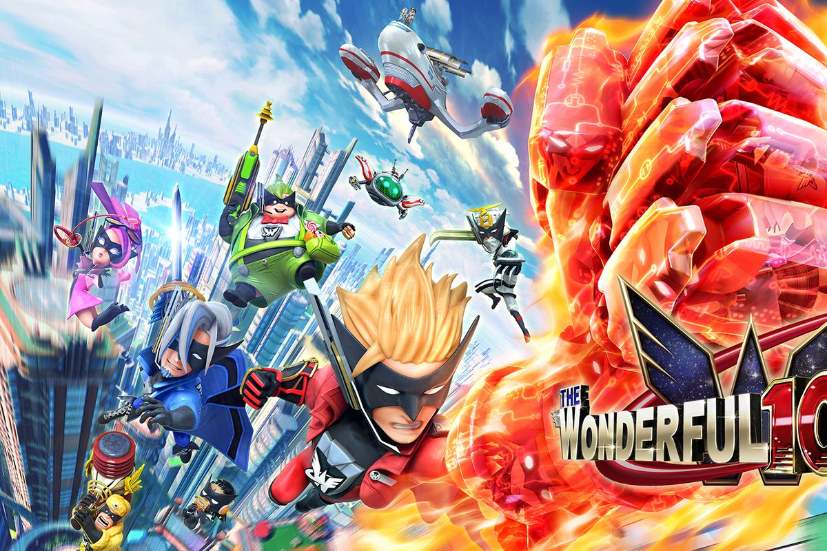 Key art of the heroes and logo of The Wonderful 101