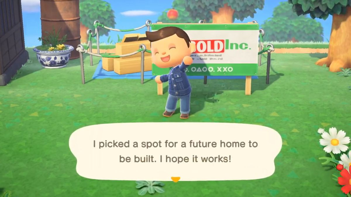 A villager places down a plot for a future home to go in Animal Crossing: New Horizons