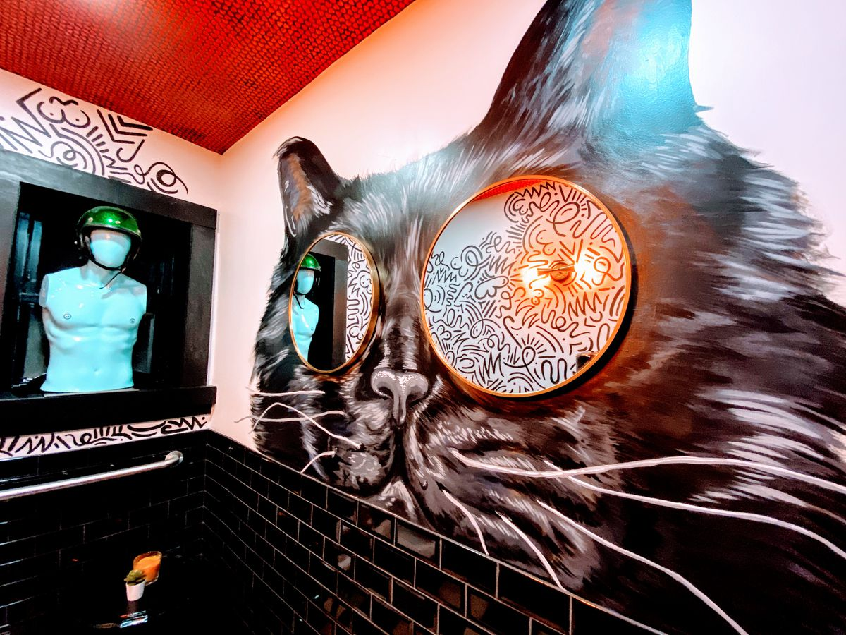 painting of cat on a wall with mirrors for eyes