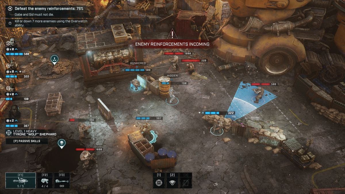 An early mission in Gears Tactics asks players to defend a group of civilians on a broken down emulsion mining rig. Here a team of four COGs makes a desperate last stand, back to back outside the rig.