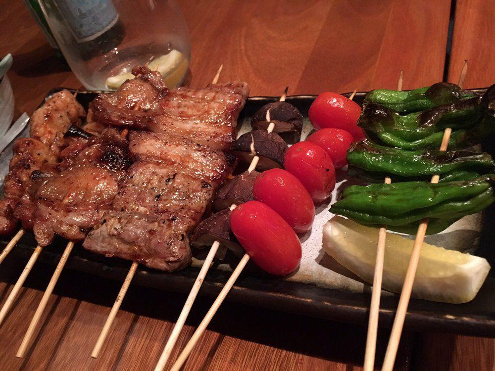 Pork and veggie skewers at Kyara