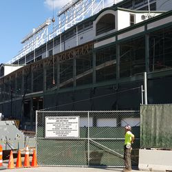 10:40 a.m. View of facade work on west side of ballpark -