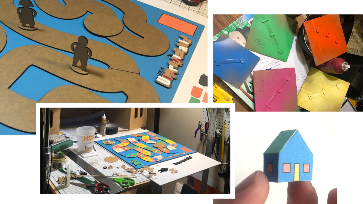 Behind the scenes imagery of the board game being produced