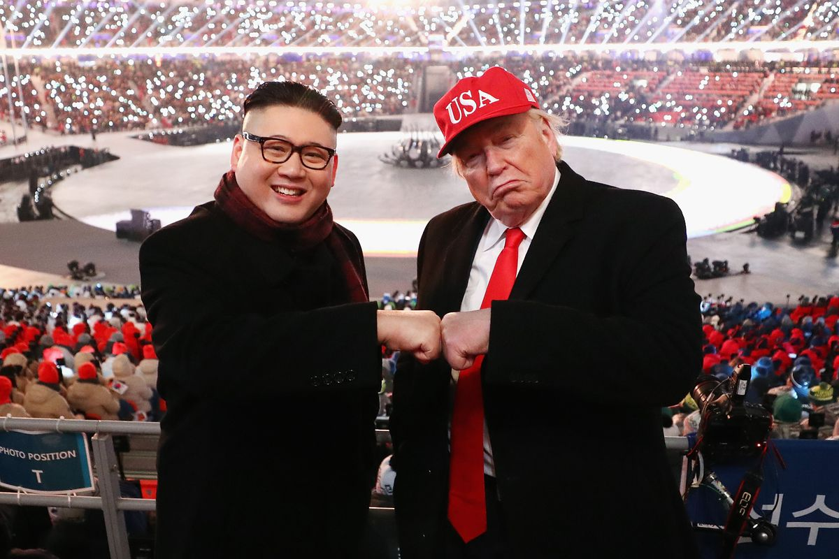 Impersonators of Donald Trump and Kim Jong Un pose during the Opening Ceremony of the 2018 Winter Olympic Games in South Korea.