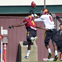 JuJu Smith can't make a catch on a Chris Hawkins' tipped pass.