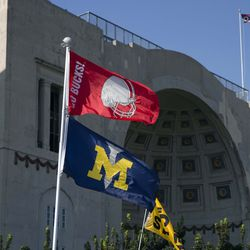Fans fly flags in support of the Ohio State Buckeyes before the game against the Buffalo Bulls at Ohio Stadium.