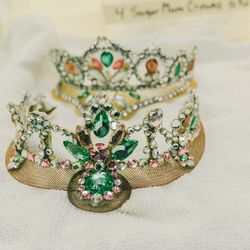 Crowns are made to match both blonde and brown hair—these will be worn by the Sugar Plum Fairy.