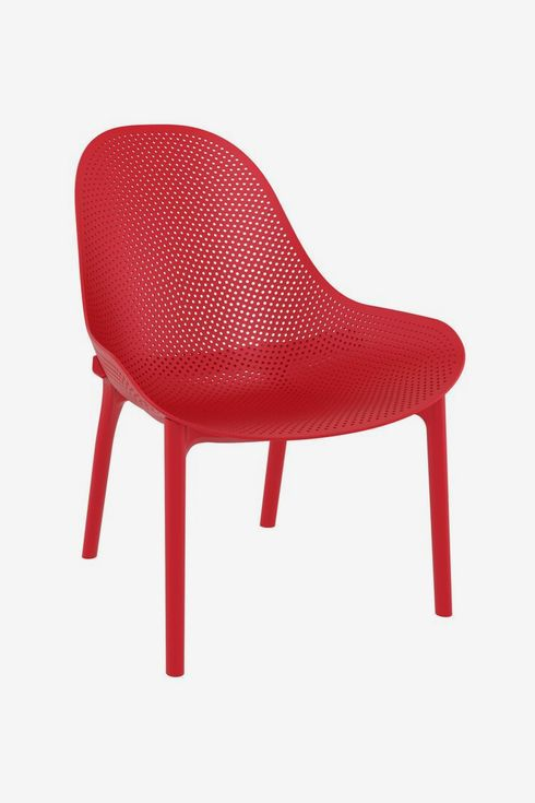 Red molded plastic chair.