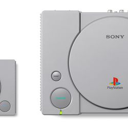 The PlayStation Classic (left) is 45 percent smaller than the original unit.
