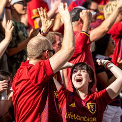 Real Salt Lake fans cheer as RSL and Houston play an MLS soccer game at Rio Tinto Stadium in Sandy on Saturday, June 26, 2021.