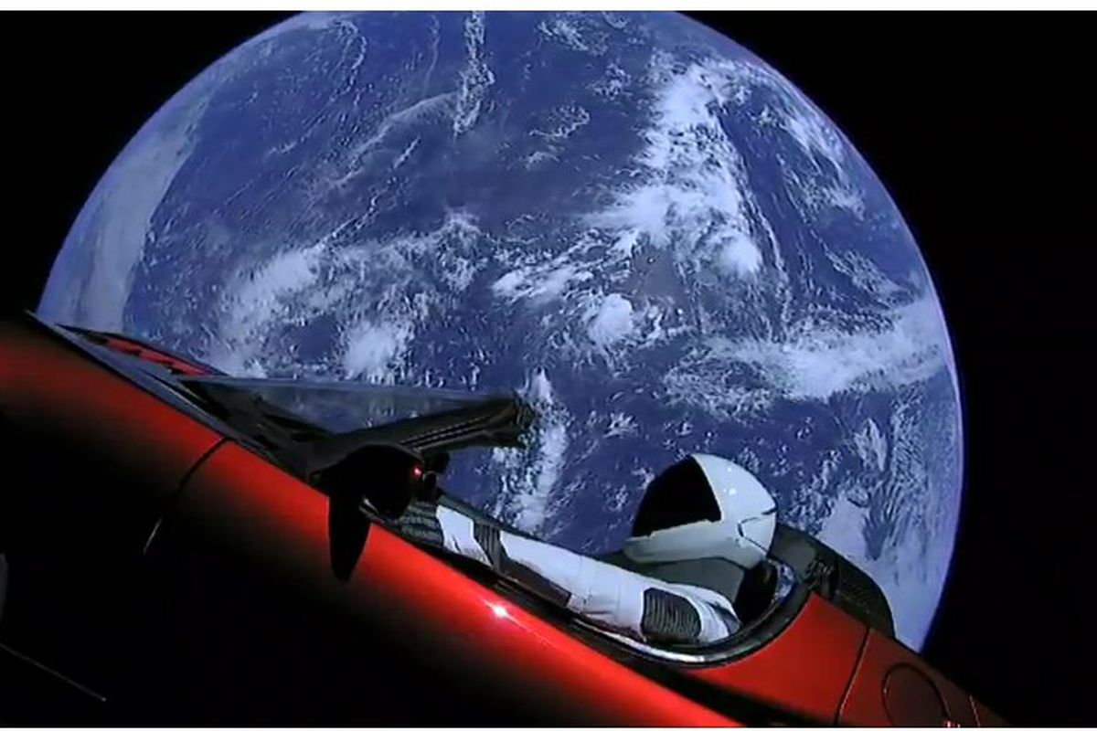 watch spacex launched a tesla roadster into space vox. Black Bedroom Furniture Sets. Home Design Ideas