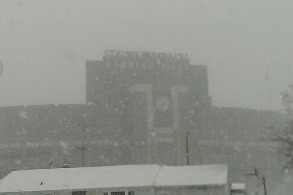 Snow pounded Lambeau Field in Green Bay early Sunday morning. Kickoff between the Steelers and Packers is scheduled for 4:25 p.m. ET.