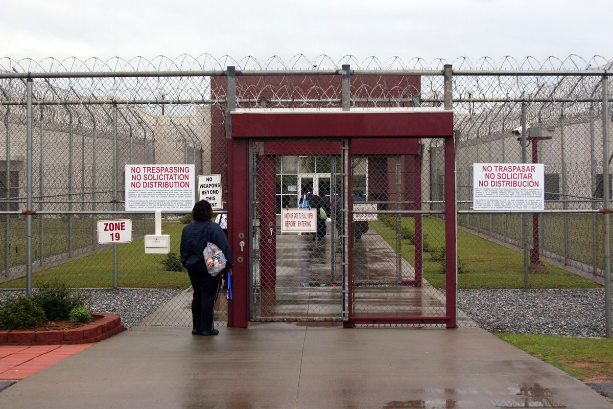 Outside view of a detention center in Lumpkin, Ga., operated on contract by Nashville-based CoreCivic, the country's largest private prison firm