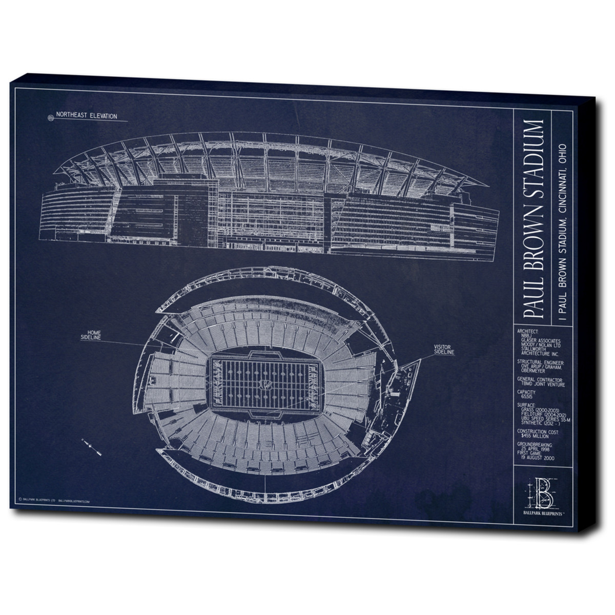 Ballpark blueprints releases paul brown stadium blueprints cincy canvas prints mounted in a floating frame are another option from the company and a great gift option malvernweather Gallery