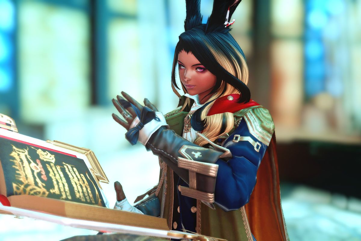 A woman with rabbit ears flips through a large tome