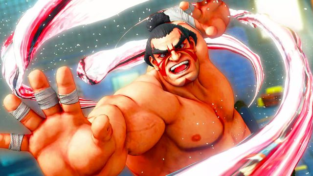 Sumo wrestler E. Honda strikes a winning pose in a screenshot from Street Fighter 5