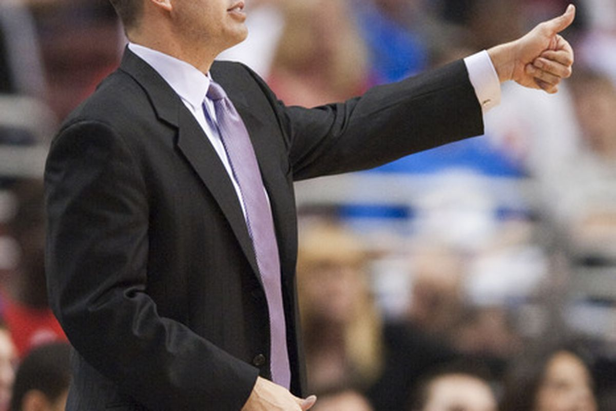 Apr 17, 2012; Philadelphia, PA, USA; Indiana Pacers head coach Frank Vogel during the fourth quarter against the Philadelphia 76ers at the Wells Fargo Center. The Pacers defeated the Sixers 102-97. Mandatory Credit: Howard Smith-US PRESSWIRE