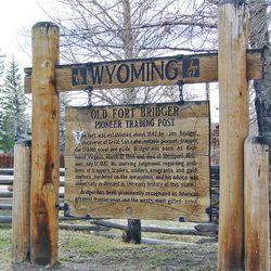 Interpretive panel at Fort Bridger, Unita County, Wyoming.
