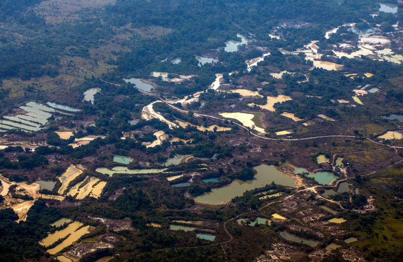 Aerial view the Esperanca IV informal gold mining camp, near the Menkragnoti indigenous territory, in Altamira, Para state, Brazil, in the Amazon basin, on August 28, 2019.