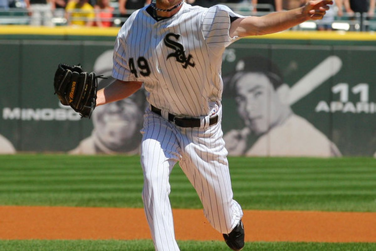 Jun 9, 2012; Chicago, IL, USA; Chicago White Sox starting pitcher Chris Sale (49) delivers a pitch during the first inning against the Houston Astros at US Cellular Field. The White Sox won 10-1. Mandatory Credit: Dennis Wierzbicki-US PRESSWIRE