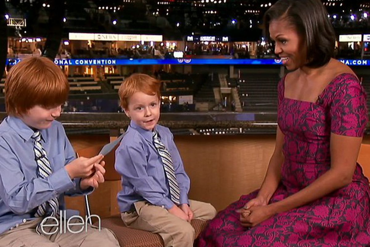 Michelle Obama continues her pretty print dress tour in Tory Burch on ellen