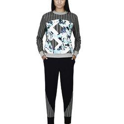 Sweatshirt in Light Blue Floral/Check Print, $29.99; Pant in Black/Check Print, $34.99; Slip-On Shoe in Black/White Print, $29.99
