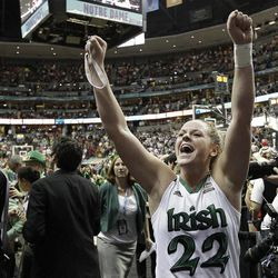 Notre Dame guard Brittany Mallory (22) celebrates victory after an NCAA women's Final Four semifinal college basketball game against Connecticut in Denver, Sunday, April 1, 2012. Notre Dame won 83-75.