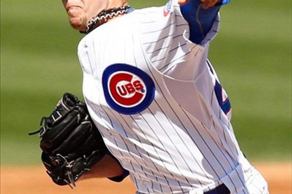 Mesa, AZ, USA; Chicago Cubs starting pitcher Paul Maholm pitches against the Cincinnati Reds at HoHoKam Park. Credit: Debby Wong-US PRESSWIRE