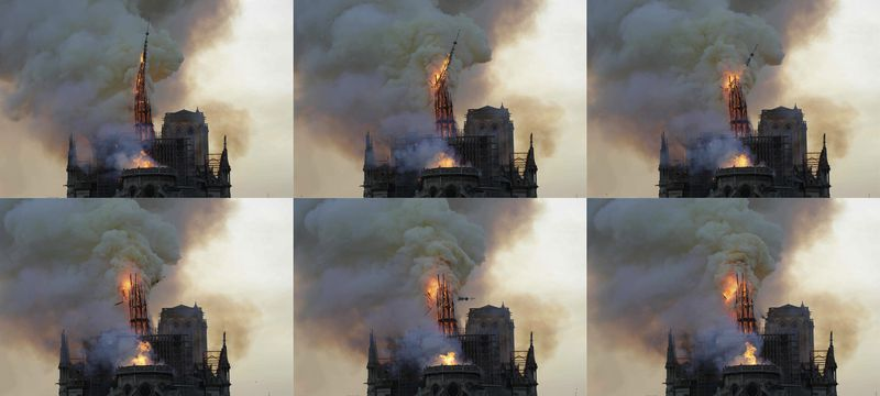 A series of photos shows the spire, engulfed in flames, collapsing.