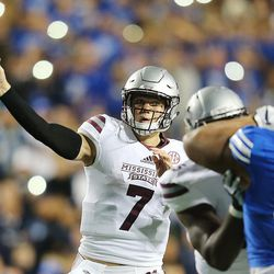 Mississippi State Bulldogs quarterback Nick Fitzgerald (7) passes the ball as BYU and Mississippi State play in Provo at LaVell Edwards Stadium on Friday, Oct. 14, 2016.