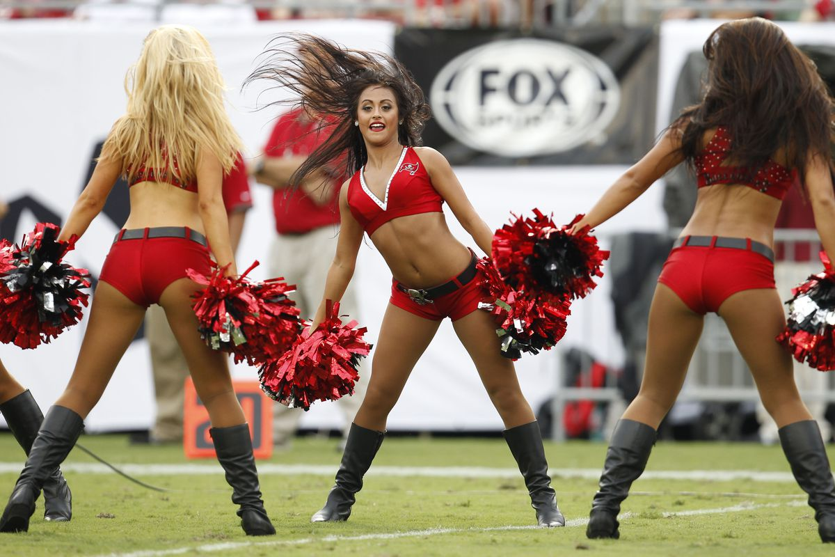Sept. 9, 2012; Tampa FL, USA; A Tampa Bay Buccaneers cheerleaders perform against the Carolina Panthers during the first half at Raymond James Stadium. The Buccaneers defeated the Panthers 16-10. Mandatory Credit: Matt Stamey-US PRESSWIRE