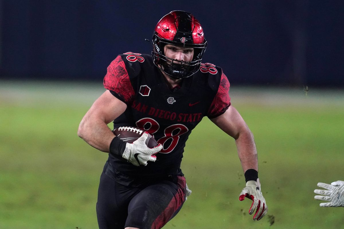 San Diego State Aztecs tight end Daniel Bellinger carries the ball in the third quarter against the Colorado State Rams at Dignity Health Sports Park. SDSU defeated CSU 29-17.