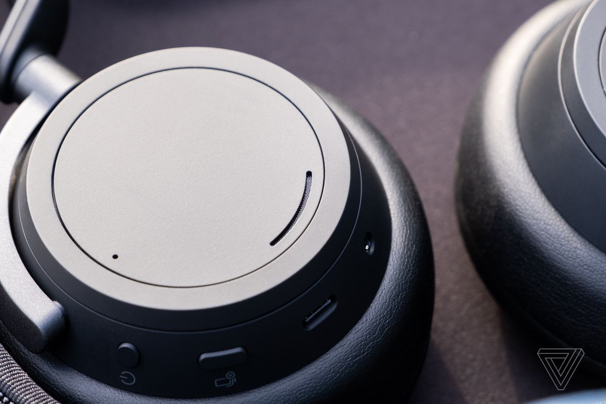 An image of the outer earcup on the Surface Headphones 2.