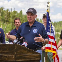 Gov. Gary Herbert speaks to members of the media about the Brian Head fire outside the Giant Steps Lodge on Tuesday, June 20, 2017.