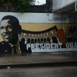Former President Barack Obama on a mural in Pullman. | Brian Jackson/ For the Sun-Times