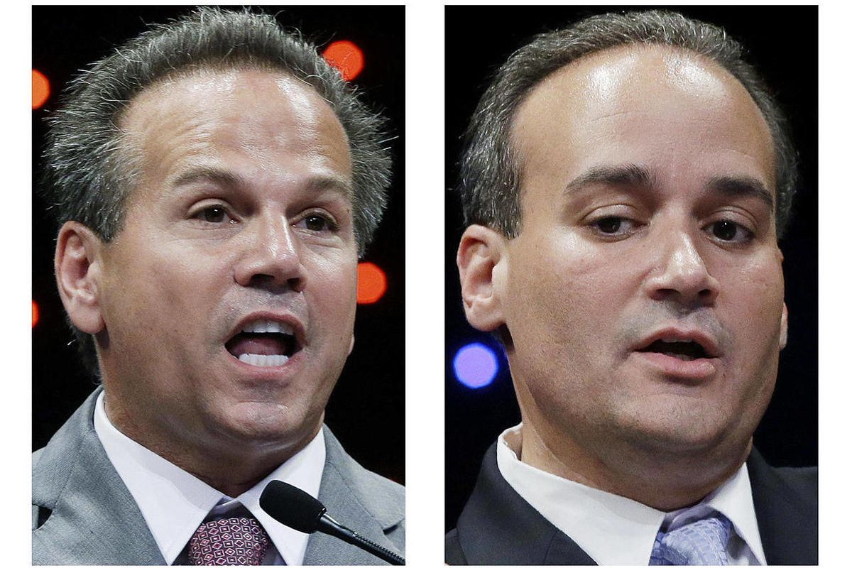 In these Aug. 28, 2012 photos, U.S. Rep. David Cicilline, left, and challenger Anthony Gemma, right, speak during the 1st Congressional District primary debate at Rhode Island College in Providence, R.I.