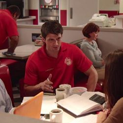 James Lafferty (Jimmy) is giving free advice to a pair of customers at Papa's Chicken and Waffles where he works as a server after losing his job in high finance.