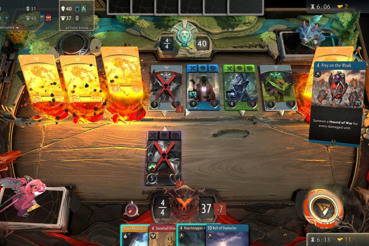 A screenshot of Artifact, the Dota 2 card game