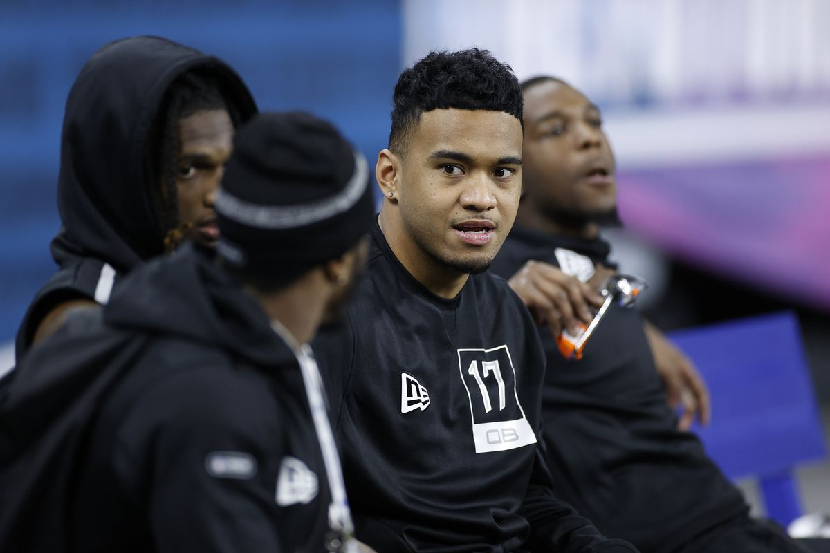 Quarterback Tua Tagovailoa of Alabama looks on during the NFL Scouting Combine at Lucas Oil Stadium on February 27, 2020 in Indianapolis, Indiana.