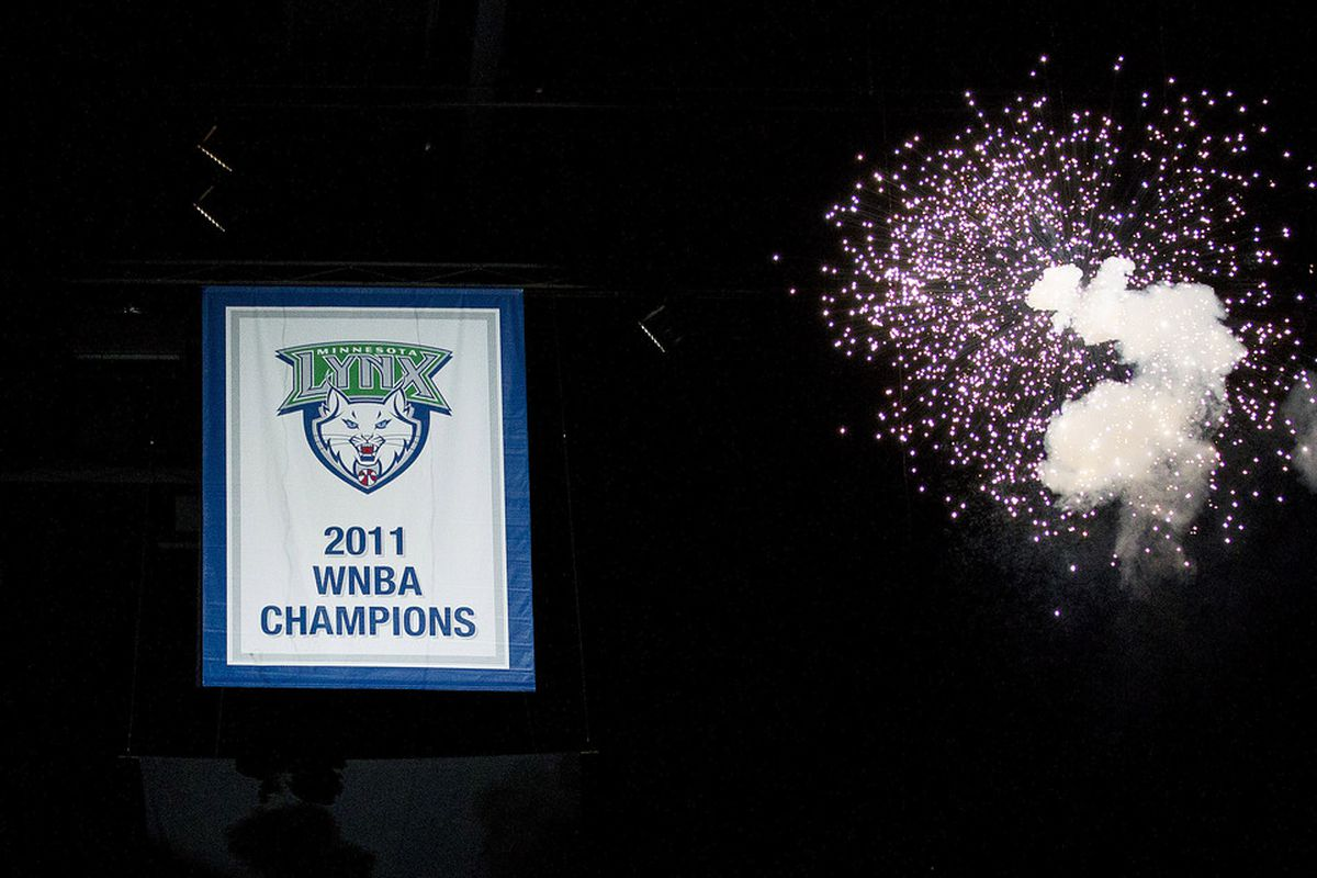 May 20, 2012; Minneapolis, MN, USA: The 2011 WNBA championship banner is revealed before a game between Minnesota Lynx and Phoenix Mercury at Target Center. Mandatory Credit: Jesse Johnson-US PRESSWIRE